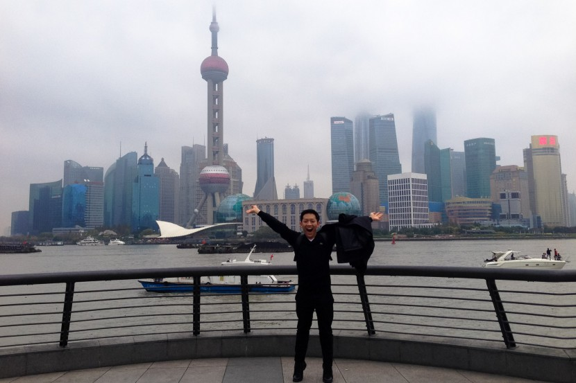 Alvin posing on the Bund in Shanghai China