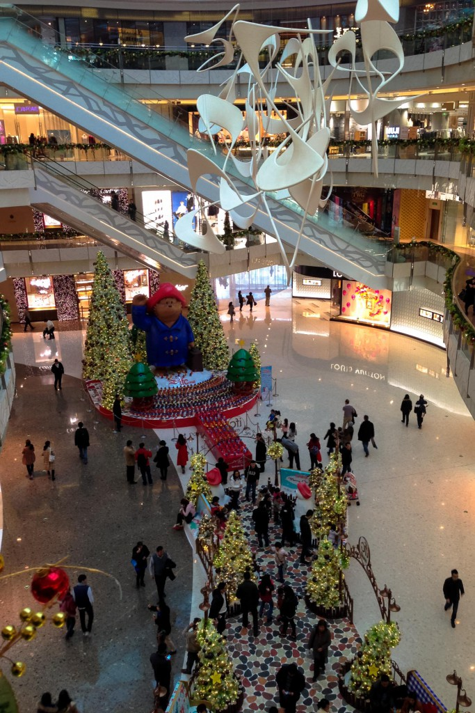 Inside the IFC mall at Christmas in Shanghai