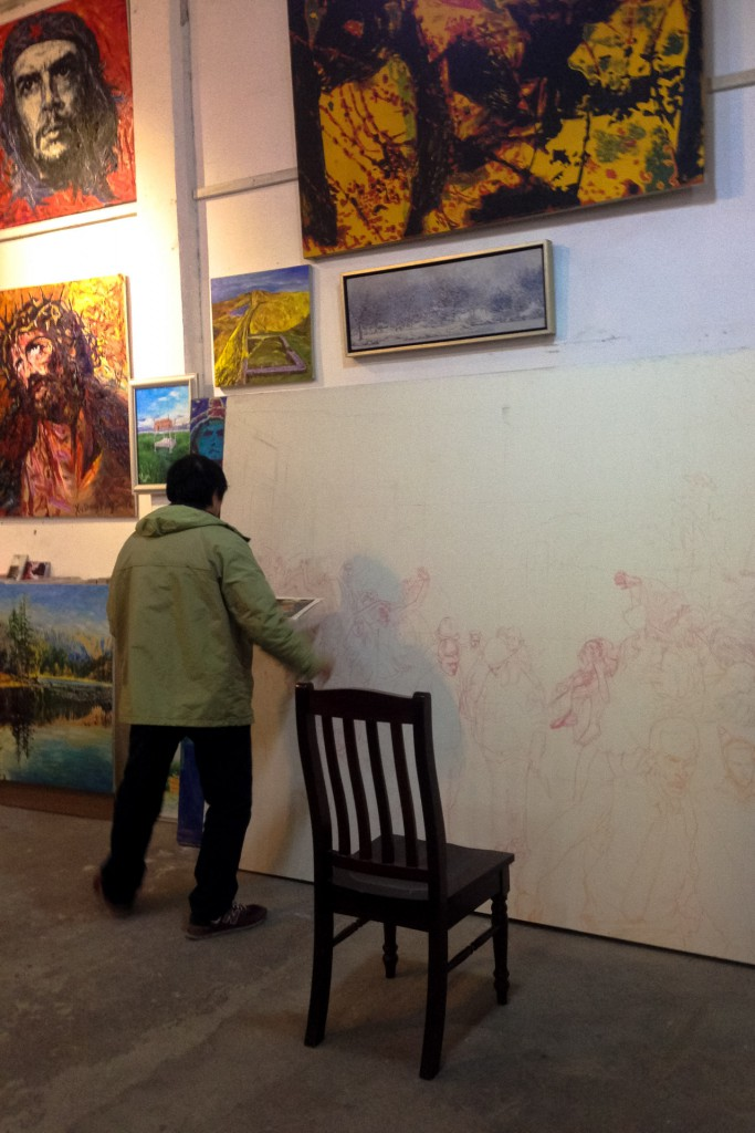 An artist at M50 art district in Shanghai China