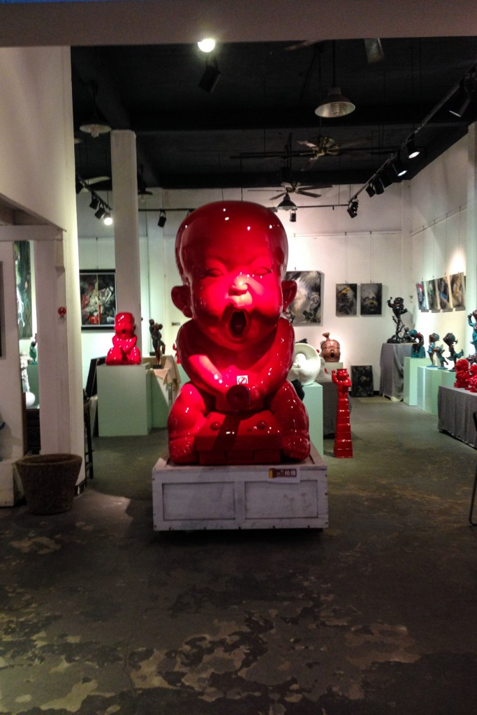A big red sculpture at the M50 art district in Shanghai China