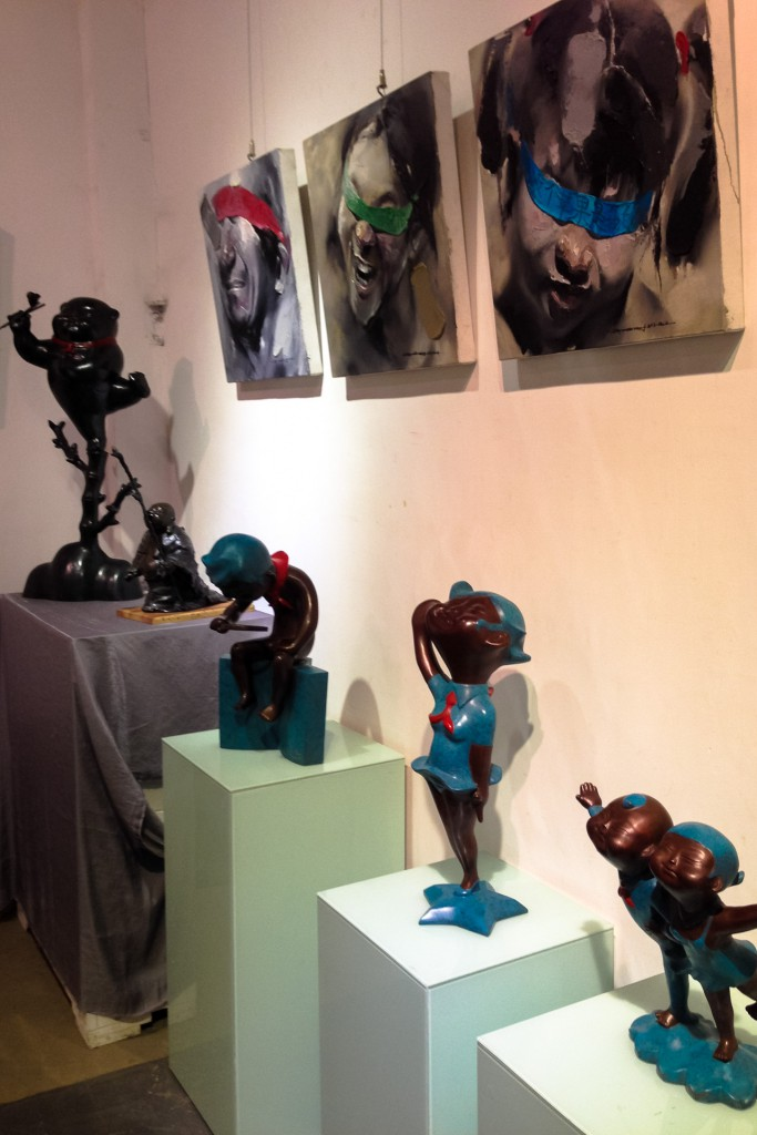 Sculptures and paintings at M50 art district in Shanghai