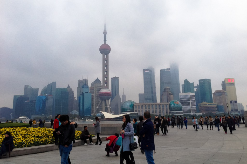 Cloudy Pudong skyline from the Bund