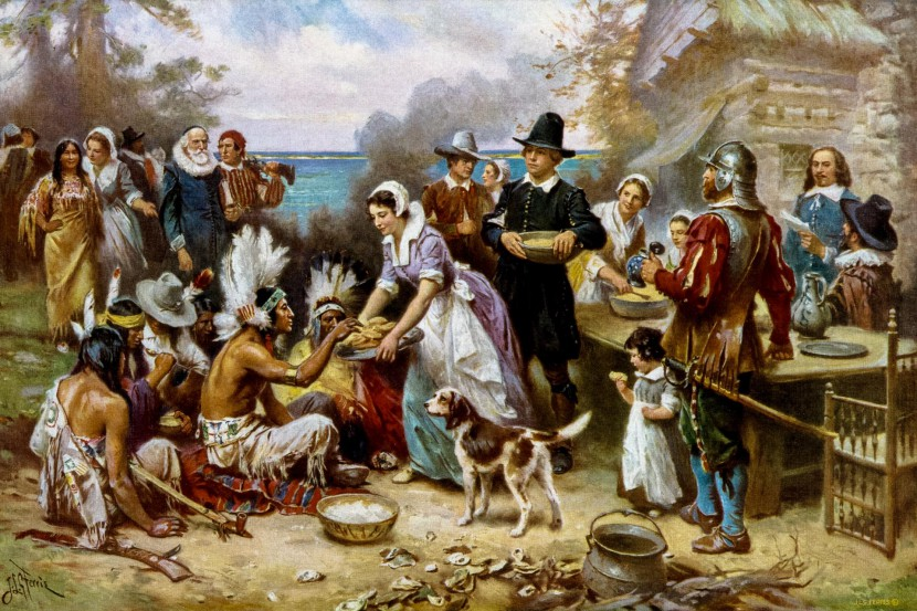 A classic painting of the first Thanksgiving dinner