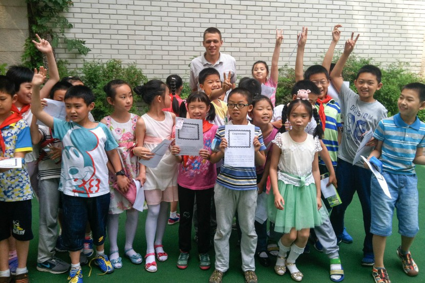 Chinese school kids posing for a photo in Nanjing China