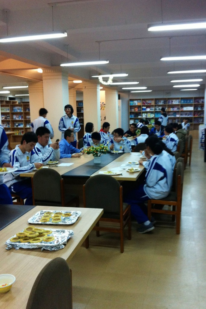 Chinese school kids enjoying Thanksgiving dinner in China