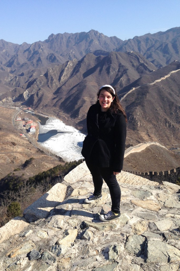 CiCi standing on the Great Wall of China
