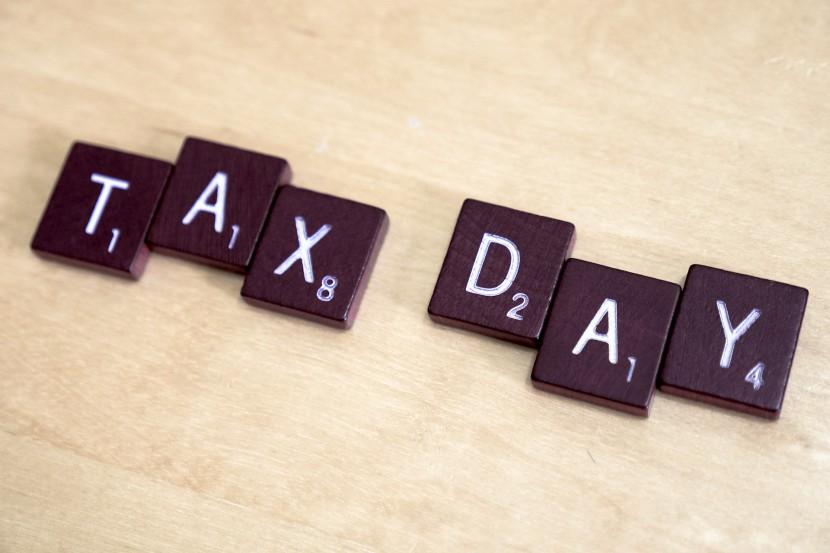 Tax day written in scrabble letters