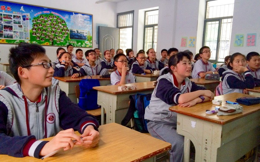 Chinese kids in a classroom in Nanjing