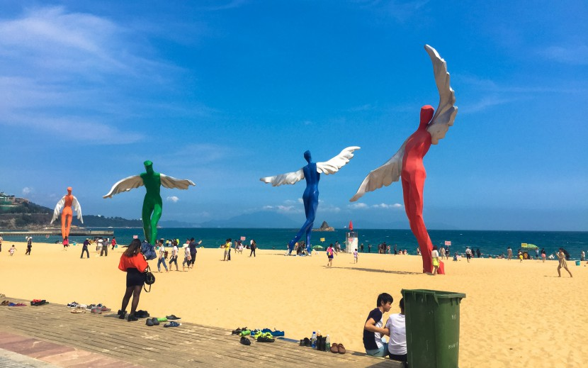 Statues on the beach in Shenzhen China