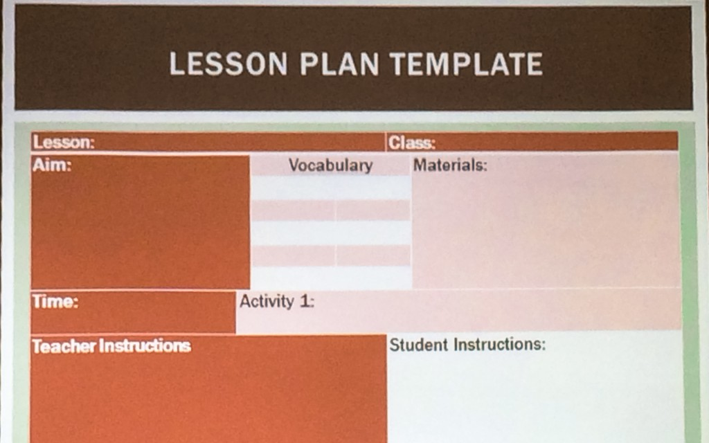 An example of a lesson plan