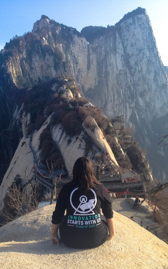 CiCi looking over Mt Hua Shan