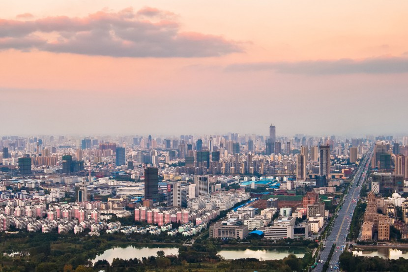 The skyline of Hefei city in Anhui province