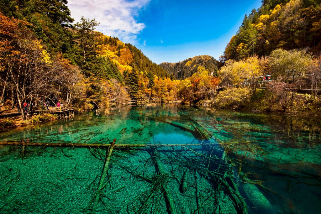 A magnificent view of Jiuzhaigou valley