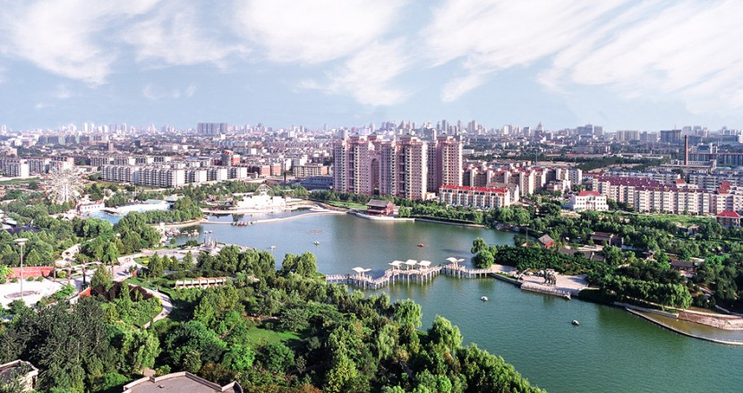 An arial view of Shijiazhung city China