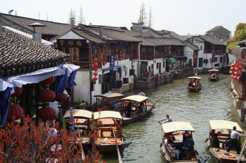 A view of boats on the river in Zhujiajiao