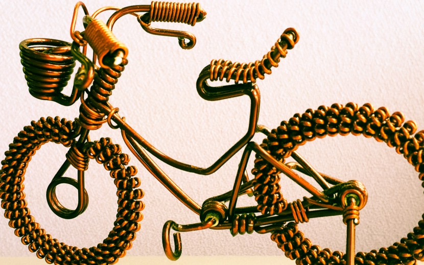 A small model wire sculpture bicycle
