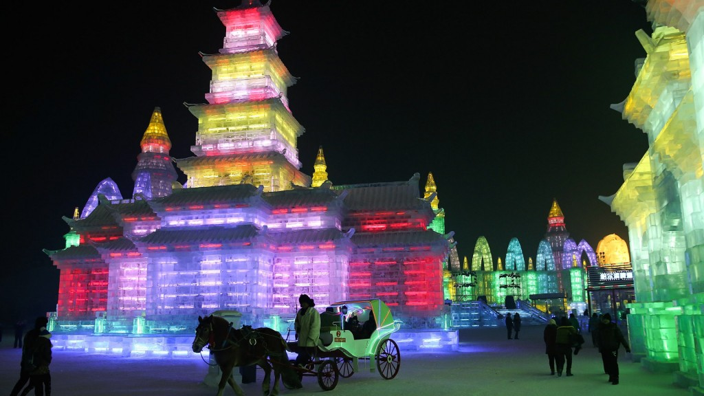 An ice building at the Harbin International Ice and Snow Sculpture Festival