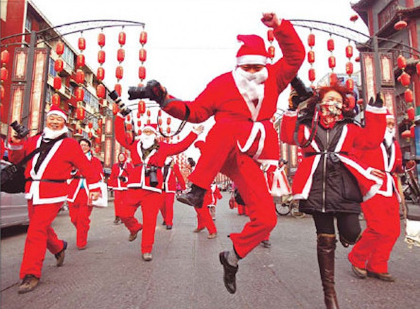 Santas celebrating Christmas in China